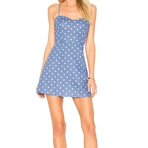 Summer blue and white polka dot dress